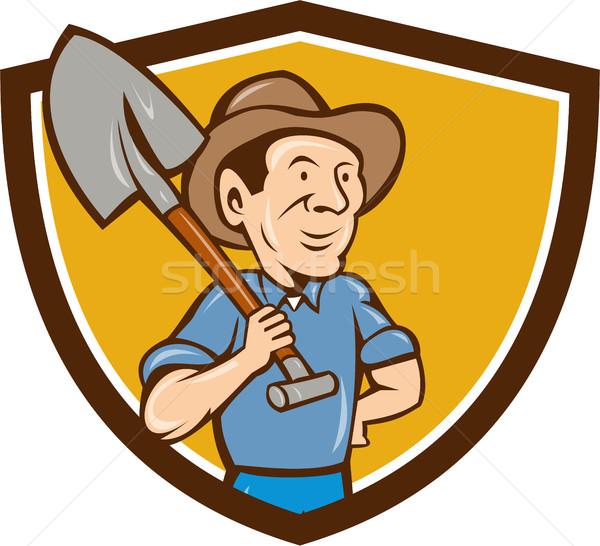фермер лопатой плечо гребень Cartoon иллюстрация Сток-фото © patrimonio