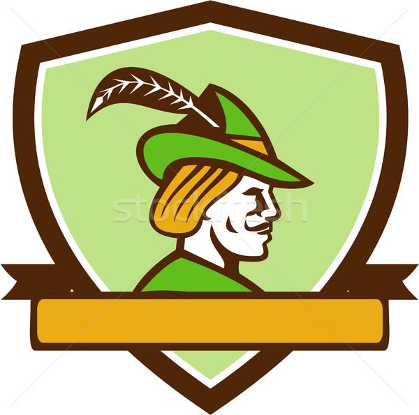 Robin Hood Side Ribbon Crest Retro Stock photo © patrimonio