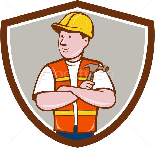 Bouwer timmerman gevouwen armen hamer kuif Stockfoto © patrimonio