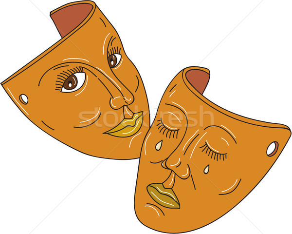 Stock photo: Theater Mask Comedy and Tragedy Mono Line