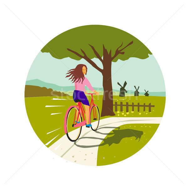 少女 ライディング 自転車 アップ ツリー サークル ストックフォト © patrimonio