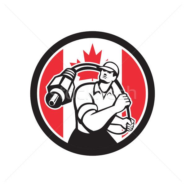 Canadian Cable Installer Canada Flag Icon Stock photo © patrimonio