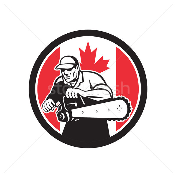 Stock photo: Canadian Tree Surgeon Chainsaw Canada Flag