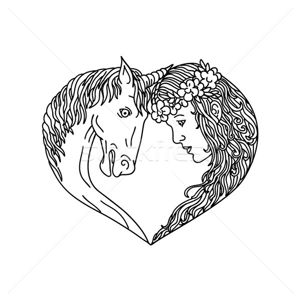 Unicorn and Maiden Heart Drawing Stock photo © patrimonio