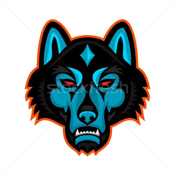 Madeira lobo cabeça esportes mascote ícone Foto stock © patrimonio