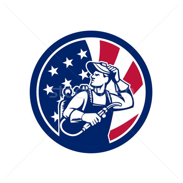 American Lit Operator USA Flag Icon Stock photo © patrimonio