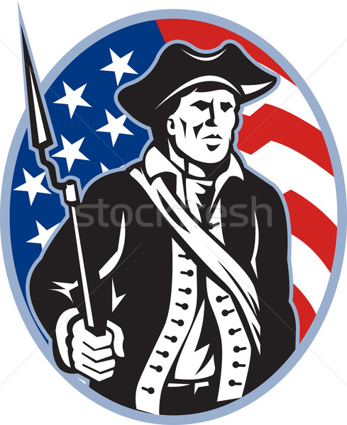 American Patriot Minuteman With Bayonet Rifle And Flag Stock photo © patrimonio