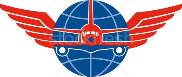Jet Flugzeug Vorderseite Flügel Welt Illustration Stock foto © patrimonio