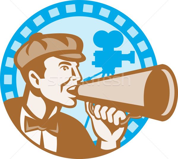 Movie Film Director With Bullhorn And Camera Retro Stock photo © patrimonio