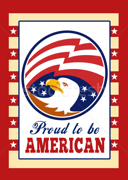 American Proud Eagle Independence Day Poster Greeting Card Stock photo © patrimonio
