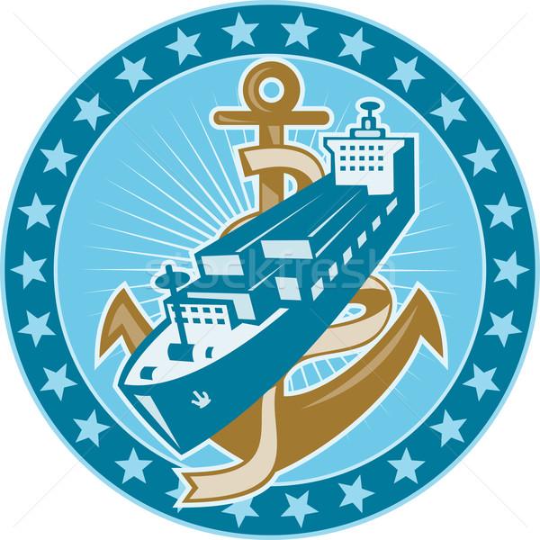 Kontenerowiec ładunku łodzi kotwica ilustracja w stylu retro Zdjęcia stock © patrimonio