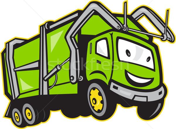 Garbage Rubbish Truck Cartoon Stock photo © patrimonio