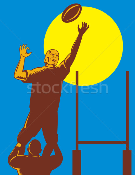 Stock photo: rugby player catching the ball lineout throw