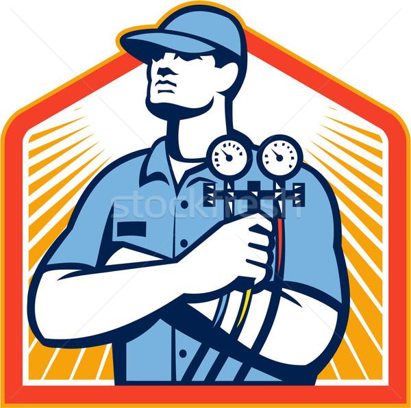 Airconditioning monteur illustratie Stockfoto © patrimonio