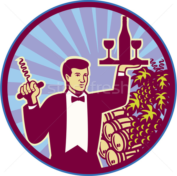 Waiter Serving Wine Glass Bottle Retro Stock photo © patrimonio