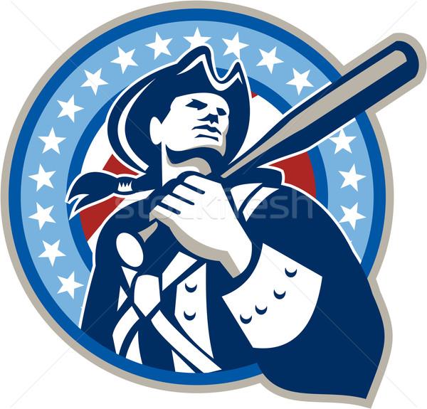 Americano patriota bate de béisbol retro ilustración Foto stock © patrimonio