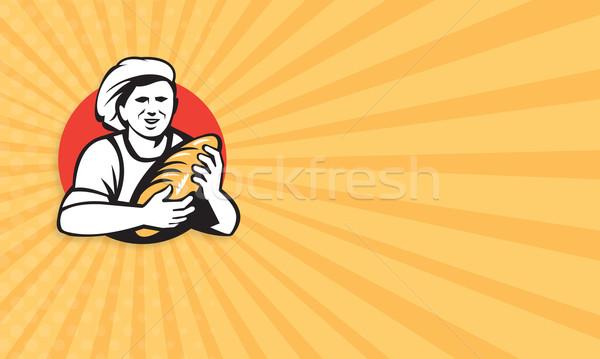 Piekarz chleba bochenek retro Zdjęcia stock © patrimonio