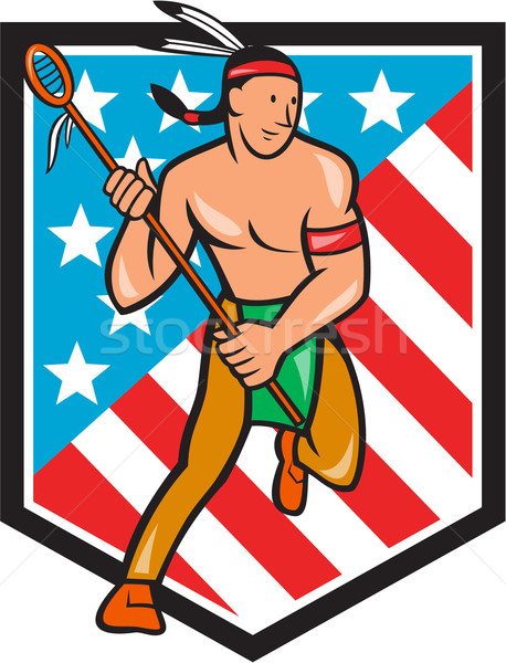 Native American Lacrosse Player Stars Stripes Shield Stock photo © patrimonio