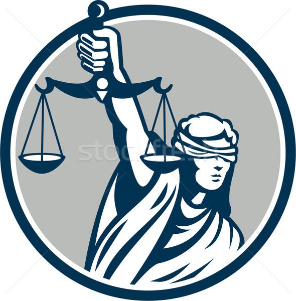 Dame yeux bandés échelles justice Photo stock © patrimonio