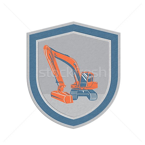 Metallic Mechanical Digger Excavator Retro Shield Stock photo © patrimonio