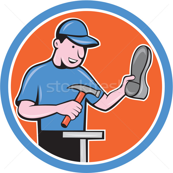 Shoemaker With Hammer Shoe Cartoon Stock photo © patrimonio