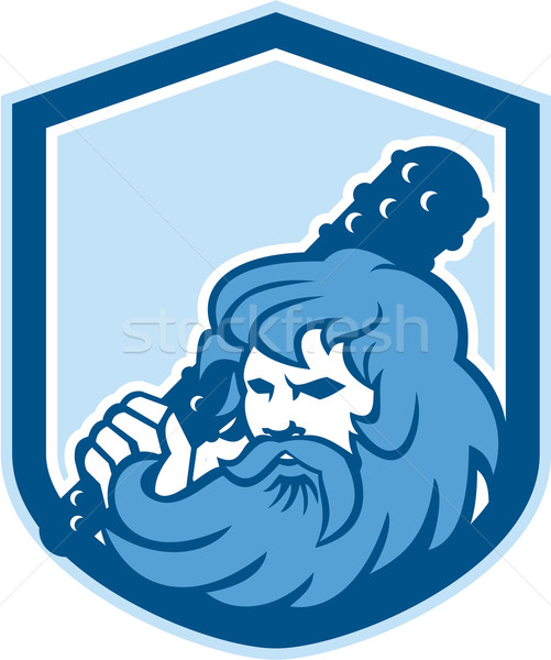 Hercules Wielding Club Shield Retro Stock photo © patrimonio