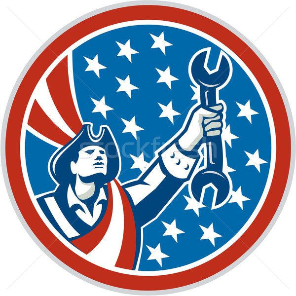 американский патриот механиком гаечный ключ круга Сток-фото © patrimonio