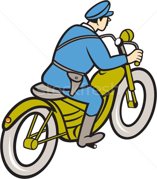 Highway Patrol Policeman Riding Motorbike Cartoon Stock photo © patrimonio