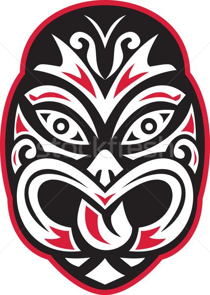 Maori Tiki Moko Tattoo Mask Retro Stock photo © patrimonio