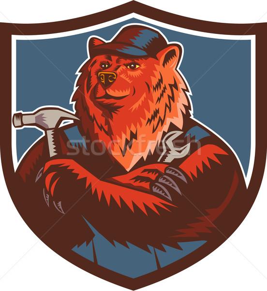 Russian Bear Builder Handyman Crest Woodcut Stock photo © patrimonio