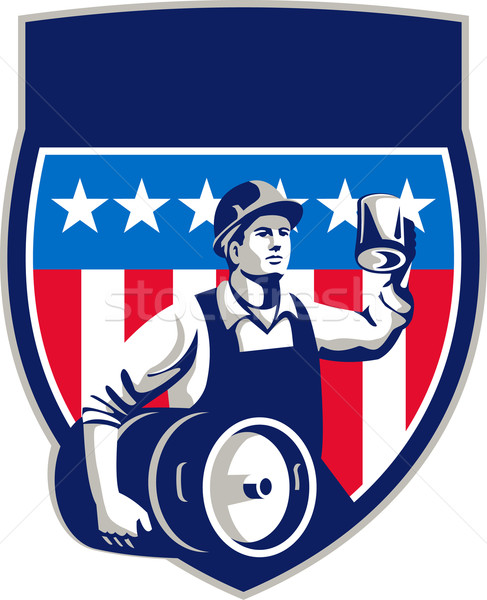 American Construction Worker Beer Keg Crest Retro Stock photo © patrimonio