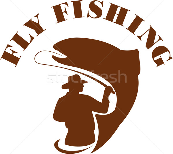 Trout Fly Fishing Isolated Retro Stock photo © patrimonio
