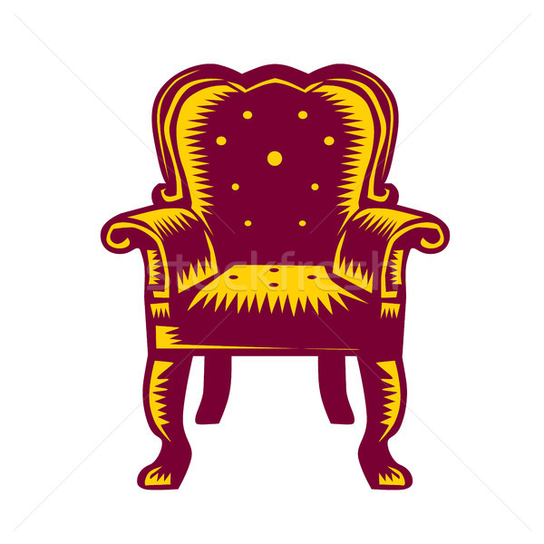 Baroque Grand Arm Chair Woodcut Stock photo © patrimonio