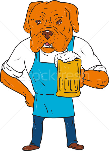 Bordeaux Dog Brewer Mug Mascot Cartoon Stock photo © patrimonio