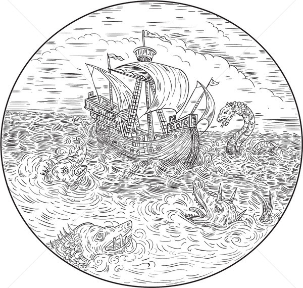 Tall Ship Turbulent Sea Serpents Black and White Drawing Stock photo © patrimonio