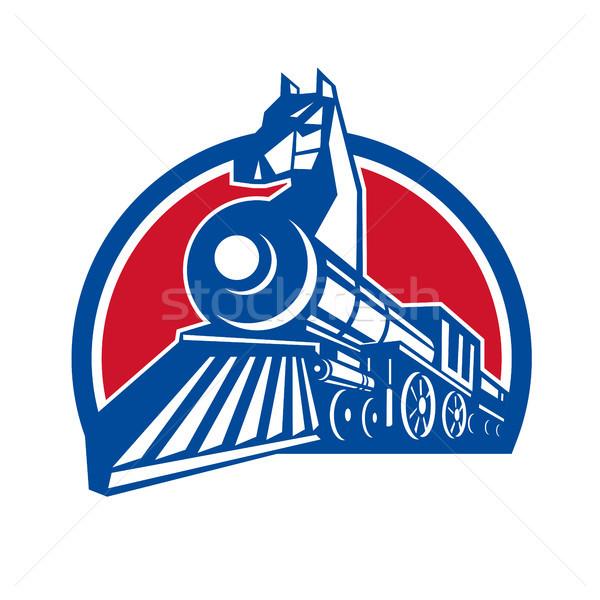 Fer cheval locomotive cercle rétro style rétro Photo stock © patrimonio
