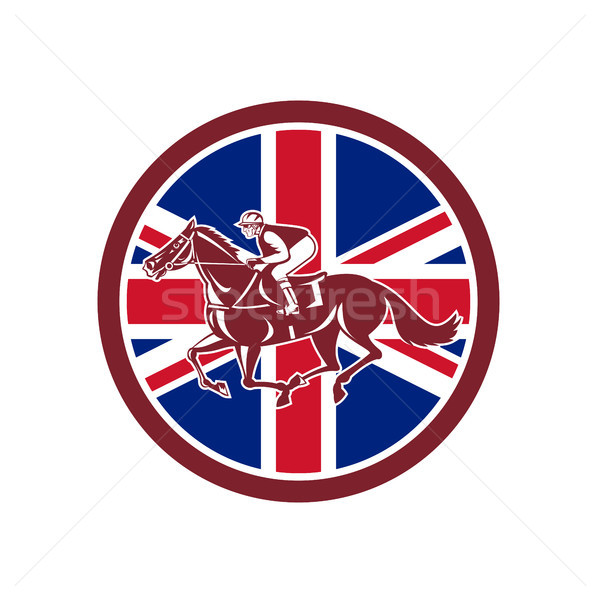 British Jockey Horse Racing Union Jack Flag Stock photo © patrimonio