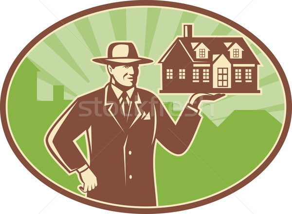 Realtor Real Estate Salesman House Retro Stock photo © patrimonio