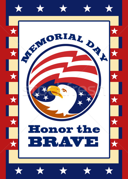 American Eagle Memorial Day Poster Greeting Card Stock photo © patrimonio