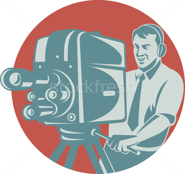Stock photo: Cameraman Filming With Vintage TV Camera