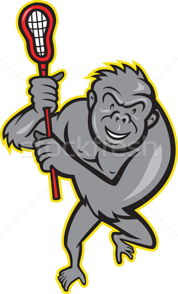 Gorilla Ape With Lacrosse Stick Cartoon Stock photo © patrimonio