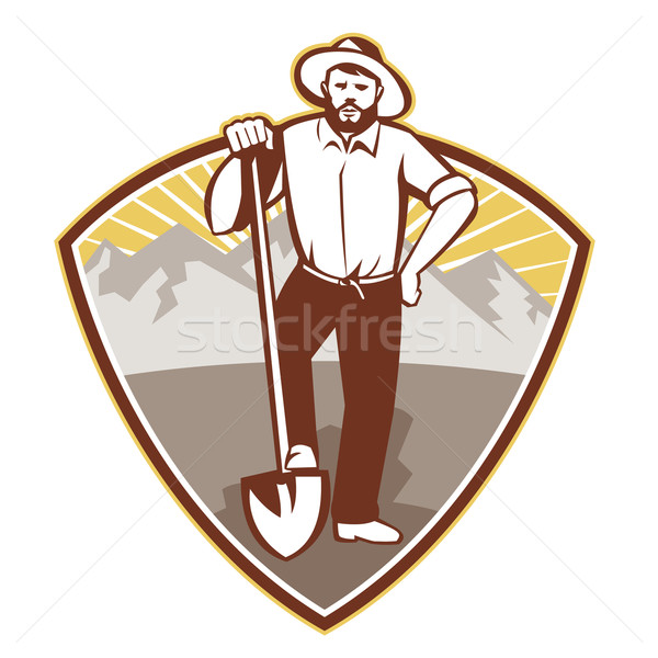 Gold Digger Miner Prospector Shield Stock photo © patrimonio
