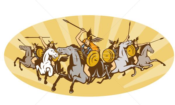 Amazon krijger paard illustratie mythologie vrouwelijke Stockfoto © patrimonio