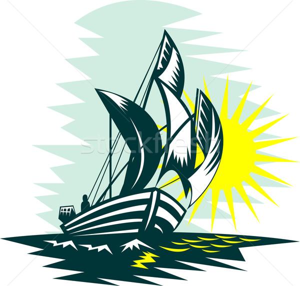 sailboat fishing Stock photo © patrimonio