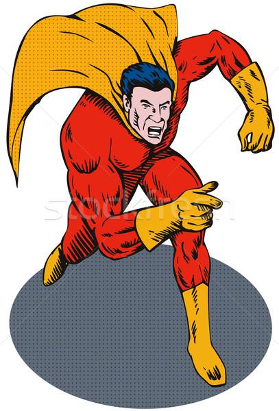 Super Hero Running Pointing Retro Stock photo © patrimonio