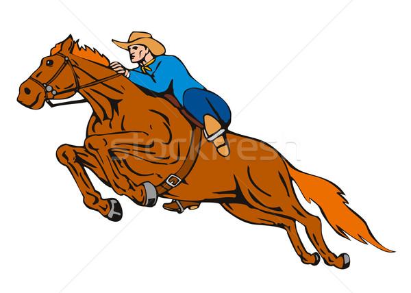 Rodeo kovboy binicilik at örnek yalıtılmış Stok fotoğraf © patrimonio