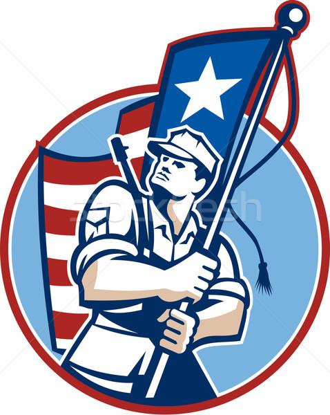 Amerykański patriota żołnierz banderą retro ilustracja Zdjęcia stock © patrimonio