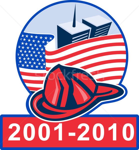 911 アメリカンフラグ 双子 消防 帽子 ストックフォト © patrimonio