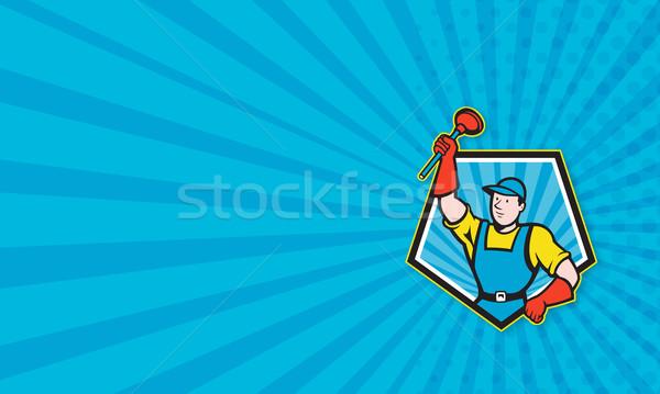 Szuper vízvezetékszerelő Pentagon rajz illusztráció tart Stock fotó © patrimonio