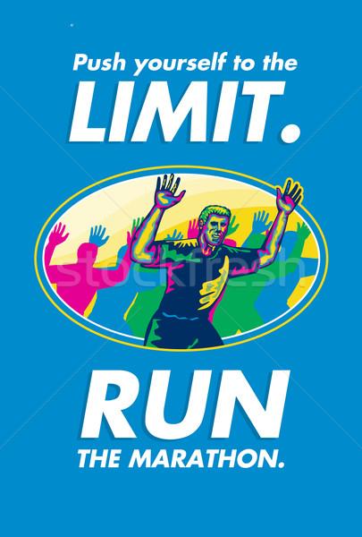 Maratona runner poster biglietto d'auguri illustrazione Foto d'archivio © patrimonio